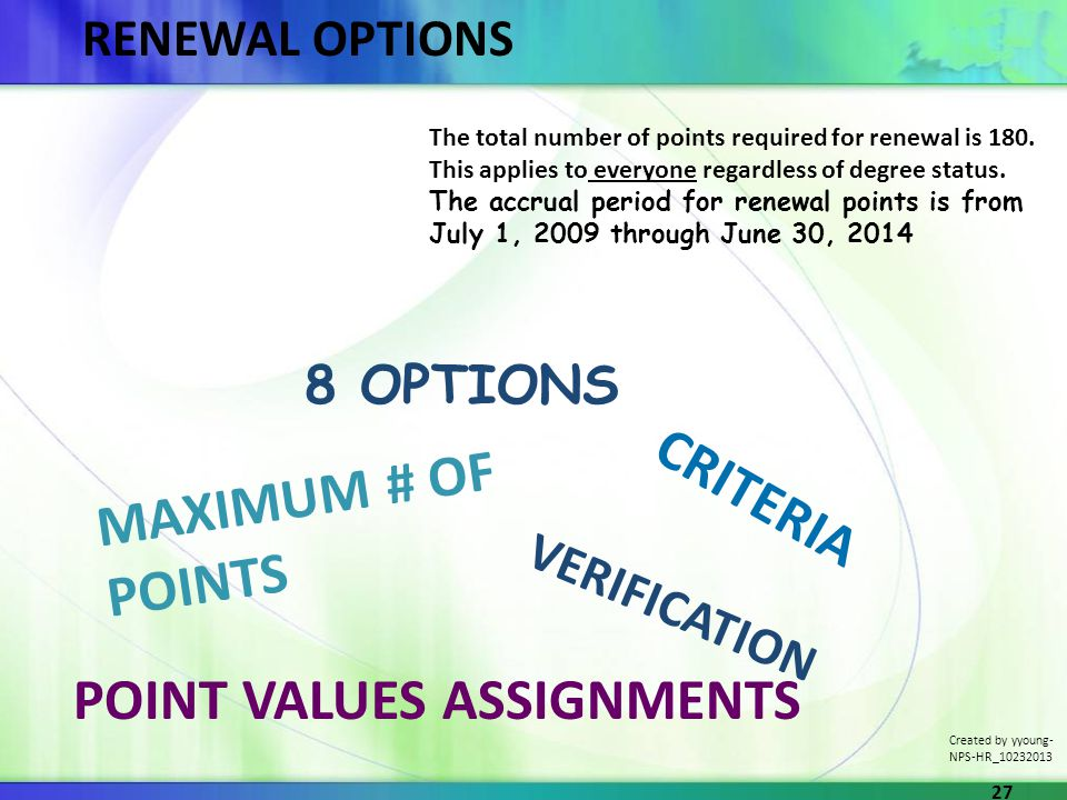 RENEWAL OPTIONS 8 OPTIONS VERIFICATION CRITERIA MAXIMUM # OF POINTS POINT VALUES ASSIGNMENTS The total number of points required for renewal is 180.