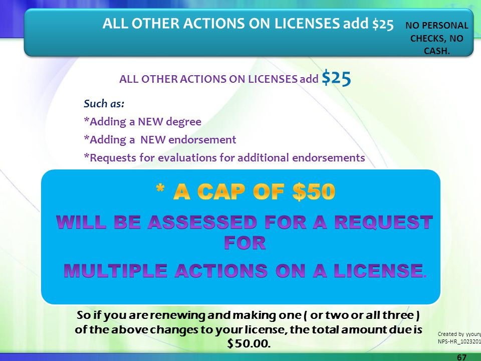 ALL OTHER ACTIONS ON LICENSES add $25 Such as: *Adding a NEW degree *Adding a NEW endorsement *Requests for evaluations for additional endorsements AL