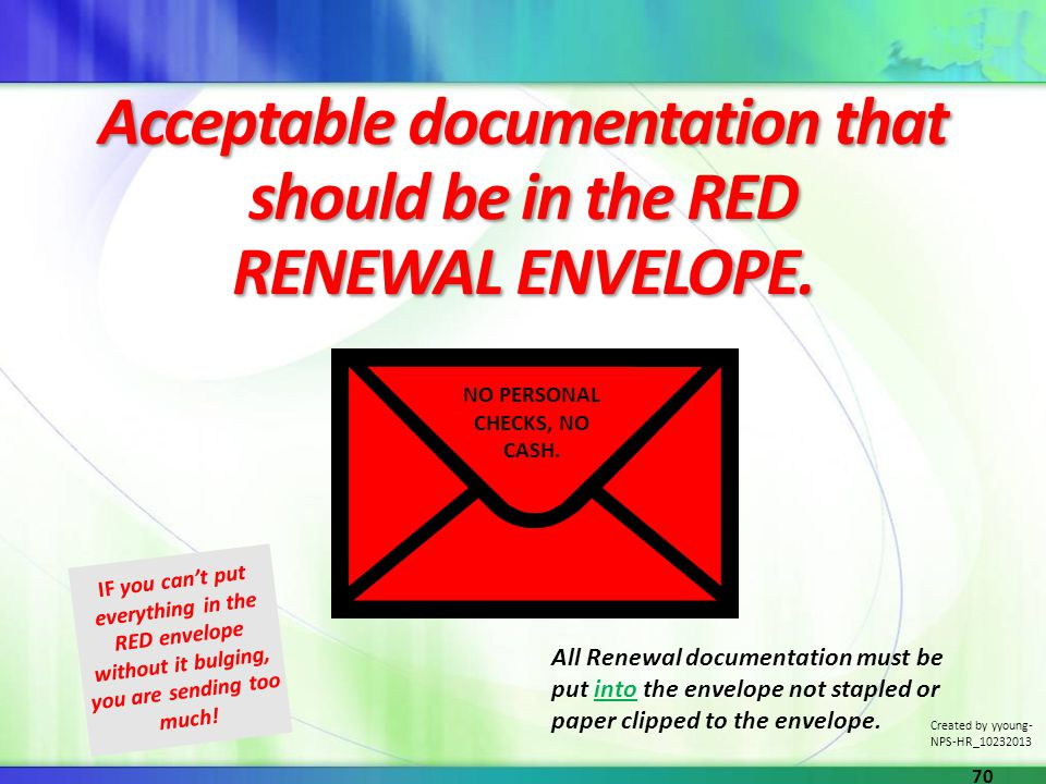 Acceptable documentation that should be in the RED RENEWAL ENVELOPE.