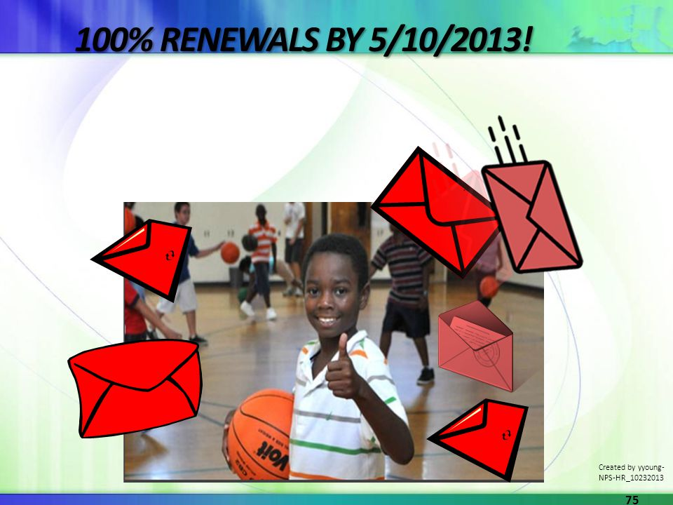 100% RENEWALS BY 5/10/2013! Created by yyoung- NPS-HR_10232013 75