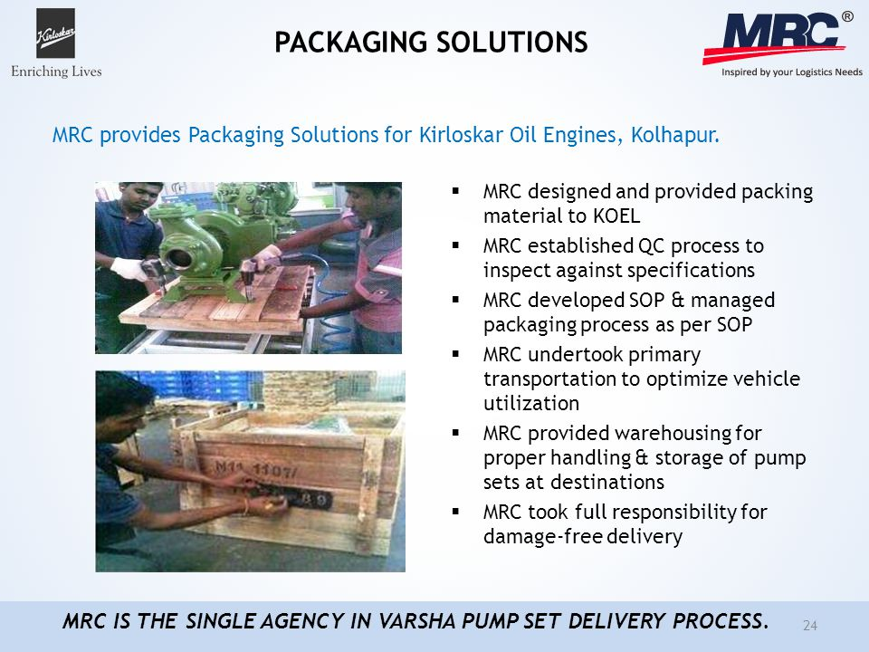 PACKAGING SOLUTIONS MRC designed and provided packing material to KOEL MRC established QC process to inspect against specifications MRC developed SOP