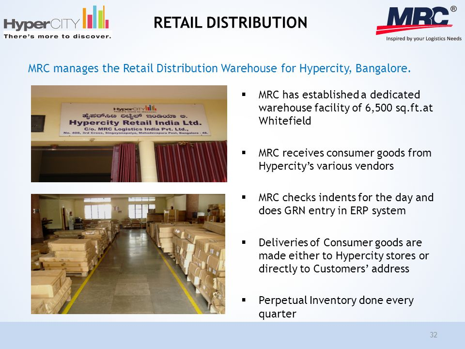 RETAIL DISTRIBUTION MRC has established a dedicated warehouse facility of 6,500 sq.ft.at Whitefield MRC receives consumer goods from Hypercitys variou