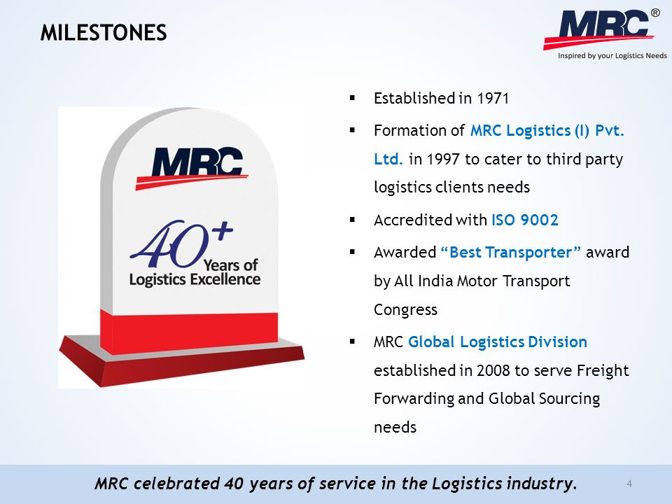 MILESTONES Established in 1971 Formation of MRC Logistics (I) Pvt. Ltd. in 1997 to cater to third party logistics clients needs Accredited with ISO 90