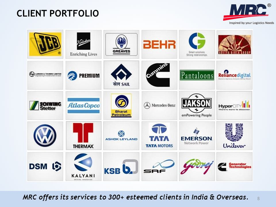 CLIENT PORTFOLIO 8 MRC offers its services to 300+ esteemed clients in India & Overseas.