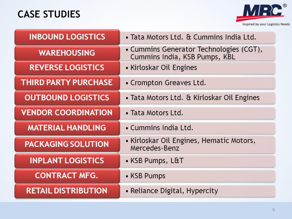 CASE STUDIES Tata Motors Ltd. & Cummins India Ltd. INBOUND LOGISTICS Cummins Generator Technologies (CGT), Cummins India, KSB Pumps, KBL WAREHOUSING K