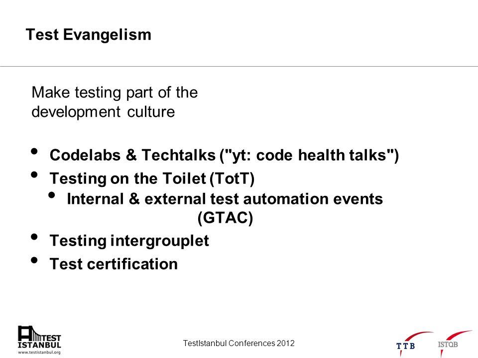 TestIstanbul Conferences 2012 Test Evangelism Codelabs & Techtalks (