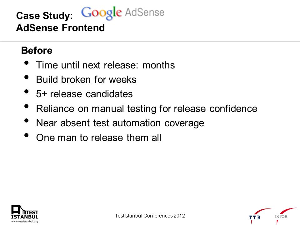 TestIstanbul Conferences 2012 Case Study: AdSense Frontend Before Time until next release: months Build broken for weeks 5+ release candidates Relianc
