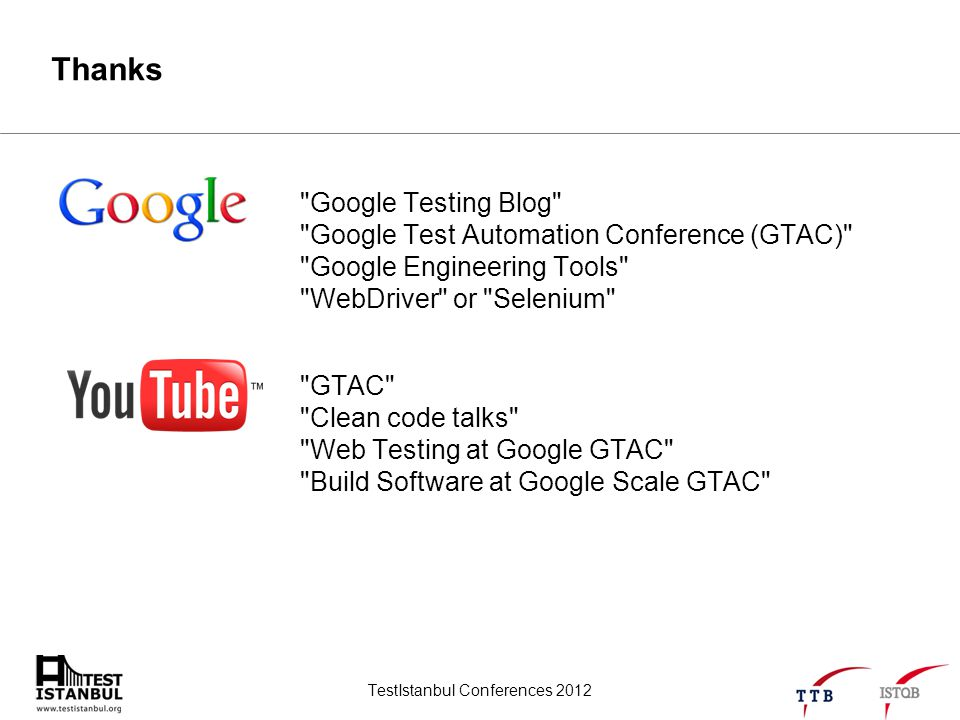 TestIstanbul Conferences 2012 Thanks