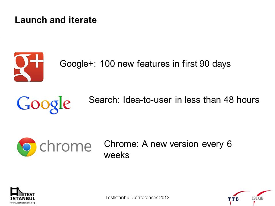TestIstanbul Conferences 2012 Launch and iterate Google+: 100 new features in first 90 days Search: Idea-to-user in less than 48 hours Chrome: A new v