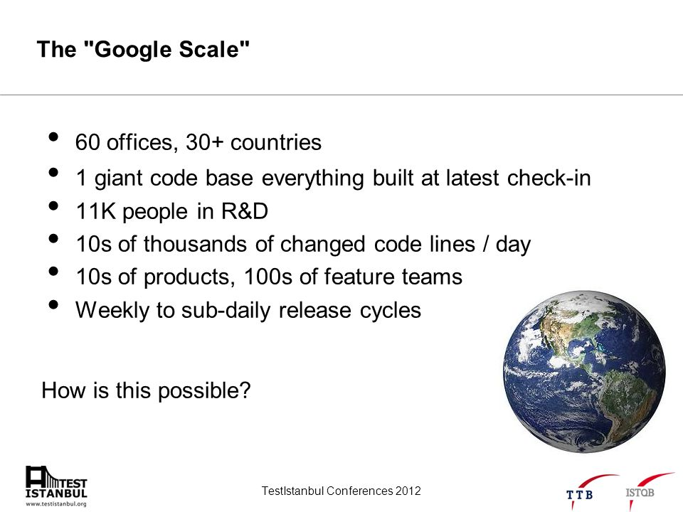 TestIstanbul Conferences 2012 The Google Scale 60 offices, 30+ countries 1 giant code base everything built at latest check-in 11K people in R&D 10s of thousands of changed code lines / day 10s of products, 100s of feature teams Weekly to sub-daily release cycles How is this possible