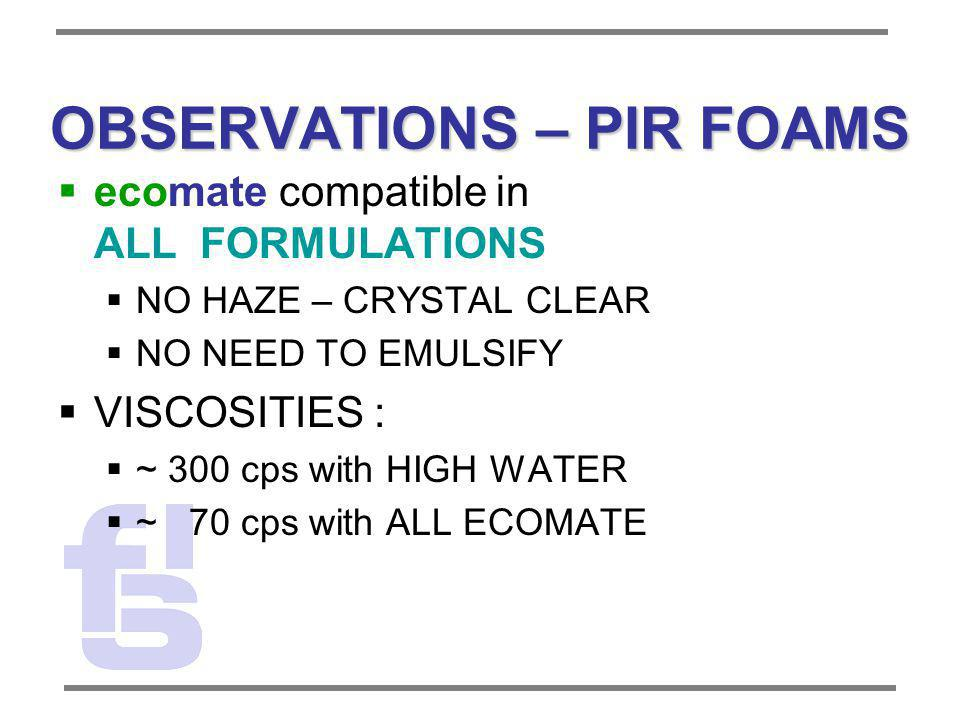 OBSERVATIONS – PIR FOAMS ecomate compatible in ALL FORMULATIONS NO HAZE – CRYSTAL CLEAR NO NEED TO EMULSIFY VISCOSITIES : ~ 300 cps with HIGH WATER ~