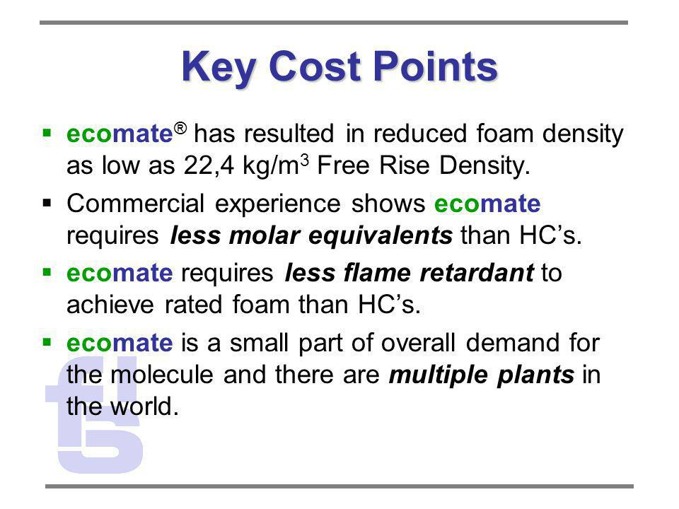 Key Cost Points ecomate ® has resulted in reduced foam density as low as 22,4 kg/m 3 Free Rise Density. Commercial experience shows ecomate requires l