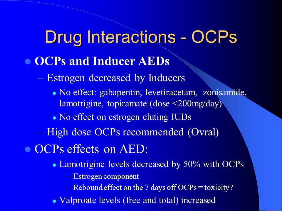Drug Interactions - OCPs OCPs and Inducer AEDs – Estrogen decreased by Inducers No effect: gabapentin, levetiracetam, zonisamide, lamotrigine, topiram