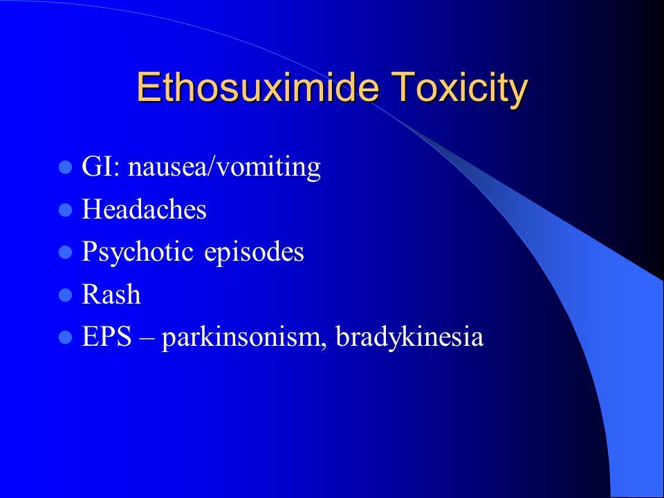 Ethosuximide Toxicity GI: nausea/vomiting Headaches Psychotic episodes Rash EPS – parkinsonism, bradykinesia
