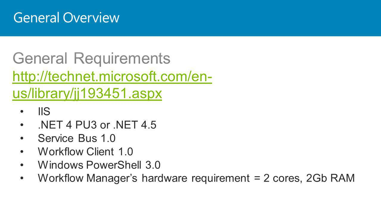 General Overview IIS.NET 4 PU3 or.NET 4.5 Service Bus 1.0 Workflow Client 1.0 Windows PowerShell 3.0 Workflow Managers hardware requirement = 2 cores, 2Gb RAM