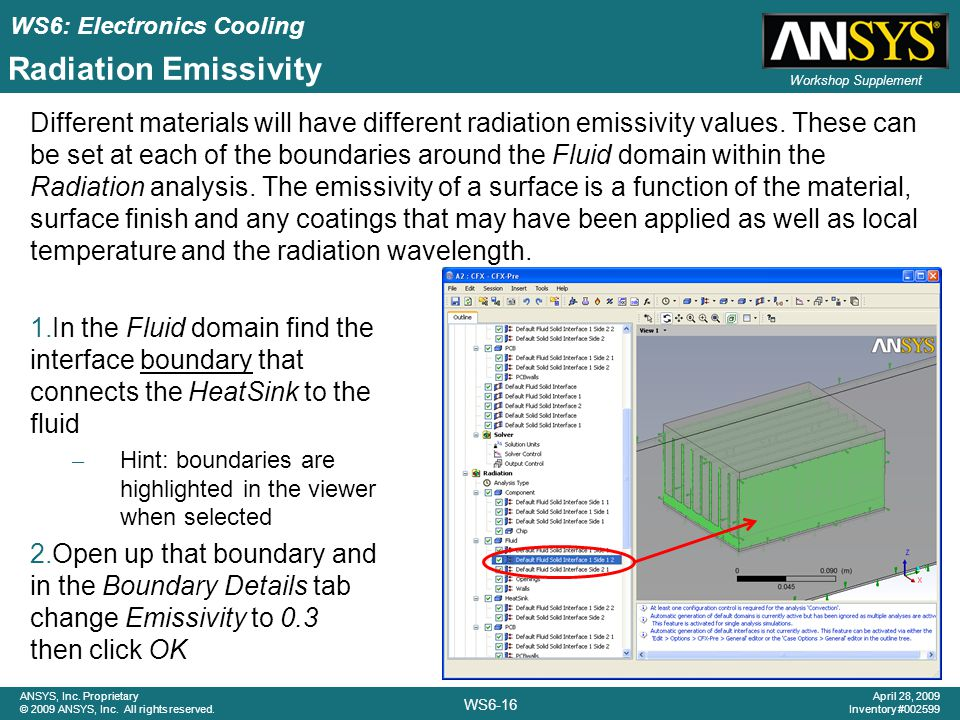 WS6: Electronics Cooling WS6-16 ANSYS, Inc.Proprietary © 2009 ANSYS, Inc.