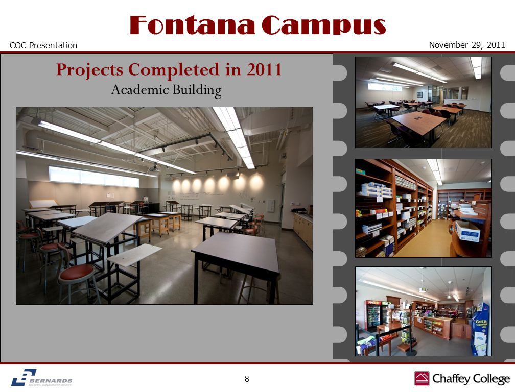 Fontana Campus 8 COC Presentation November 29, 2011 Academic Building Projects Completed in 2011