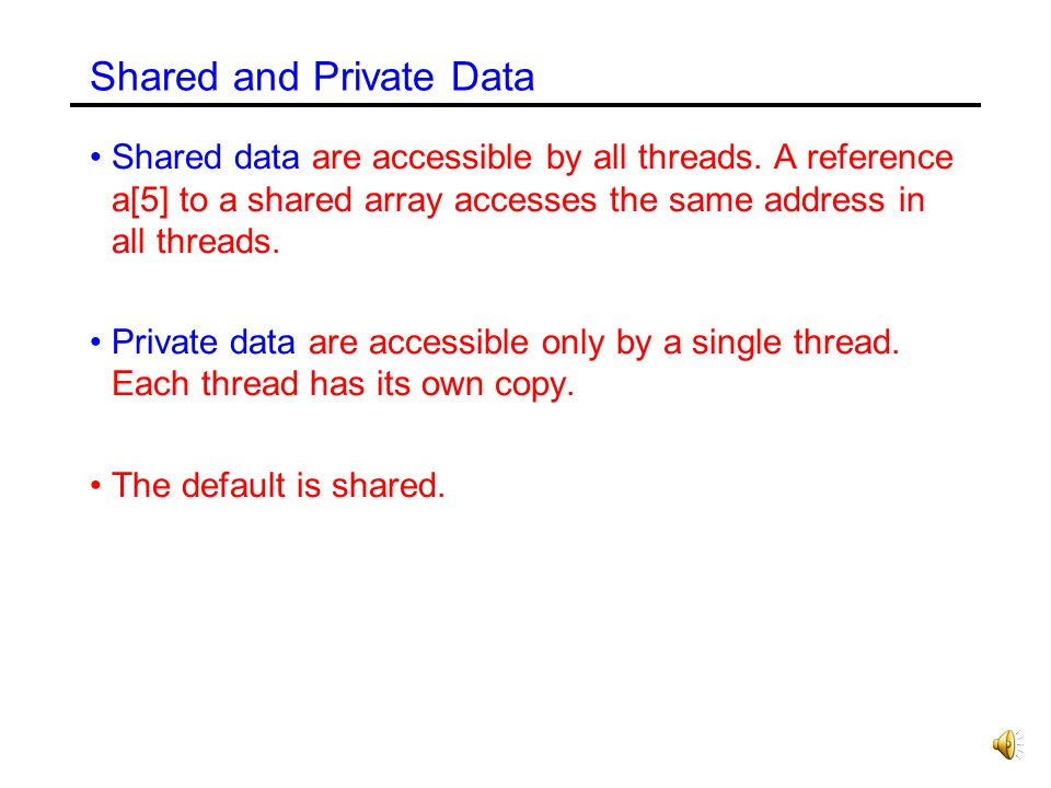 Shared and Private Data Shared data are accessible by all threads.