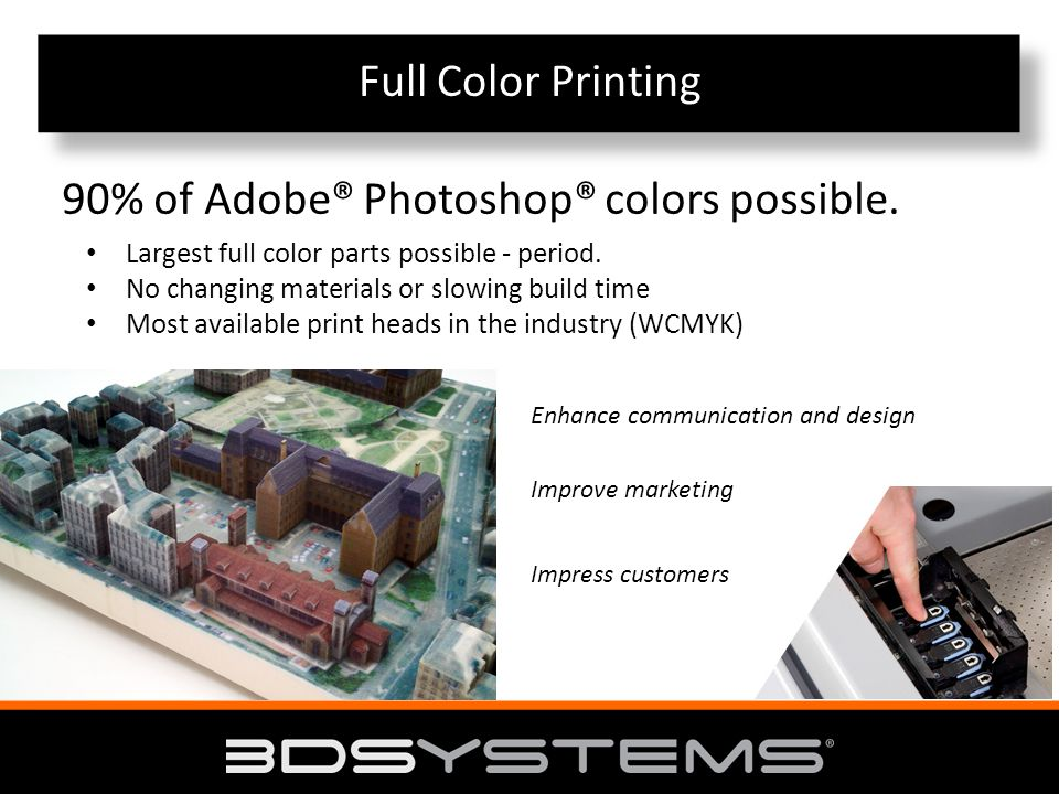 Full Color Printing 90% of Adobe® Photoshop® colors possible.