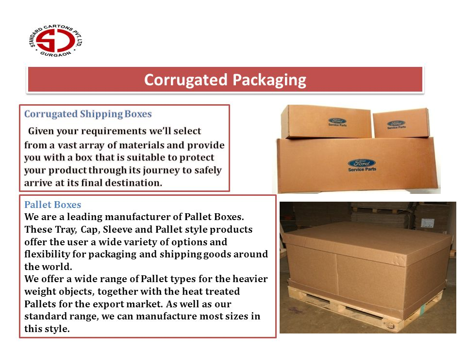 Corrugated Packaging Pallet Boxes We are a leading manufacturer of Pallet Boxes. These Tray, Cap, Sleeve and Pallet style products offer the user a wi