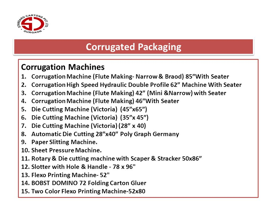 Corrugation Machines 1.Corrugation Machine (Flute Making- Narrow & Braod) 85With Seater 2.Corrugation High Speed Hydraulic Double Profile 62 Machine W