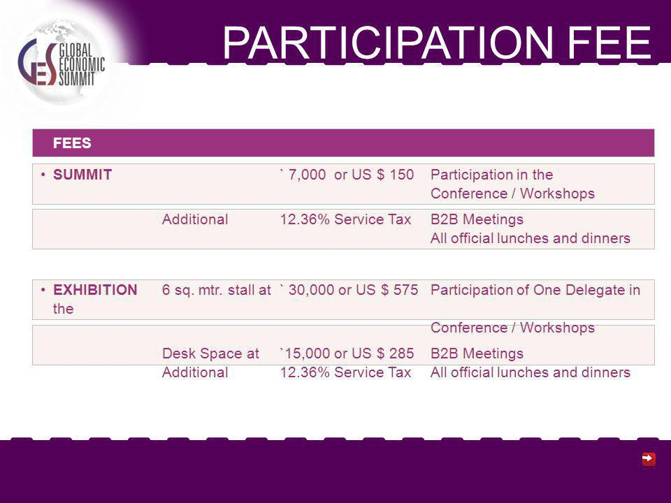 PARTICIPATION FEE FEES SUMMIT ` 7,000 or US $ 150 Participation in the Conference / WorkshopsSUMMIT ` 7,000 or US $ 150 Participation in the Conference / Workshops Additional12.36% Service TaxB2B Meetings All official lunches and dinners EXHIBITION 6 sq.