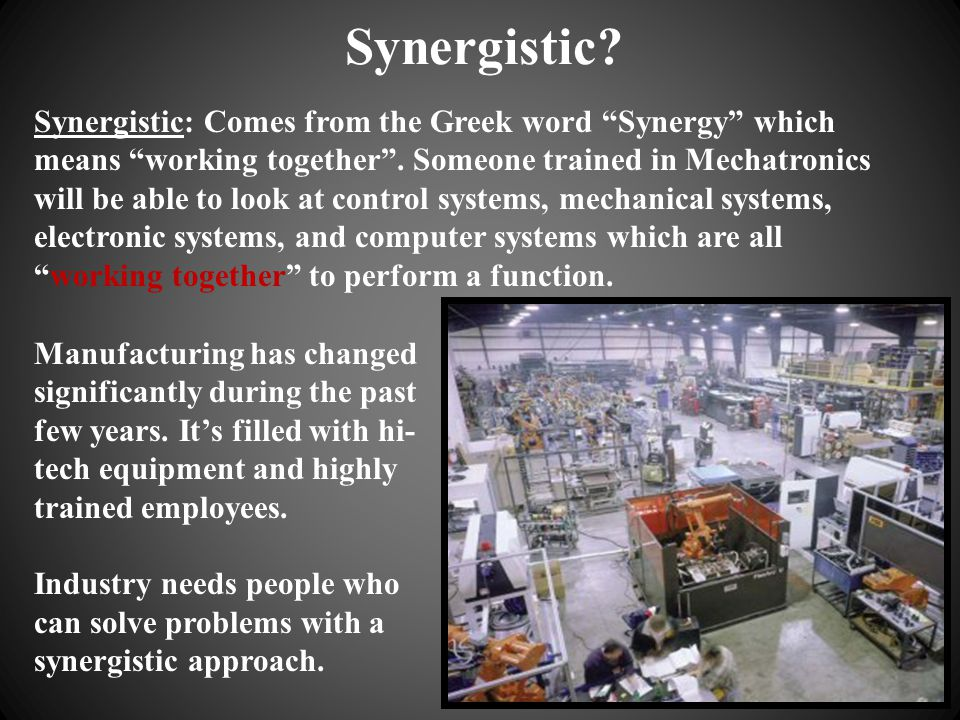 Who solves problems with a Synergistic Approach.A good example of this would be an auto mechanic.