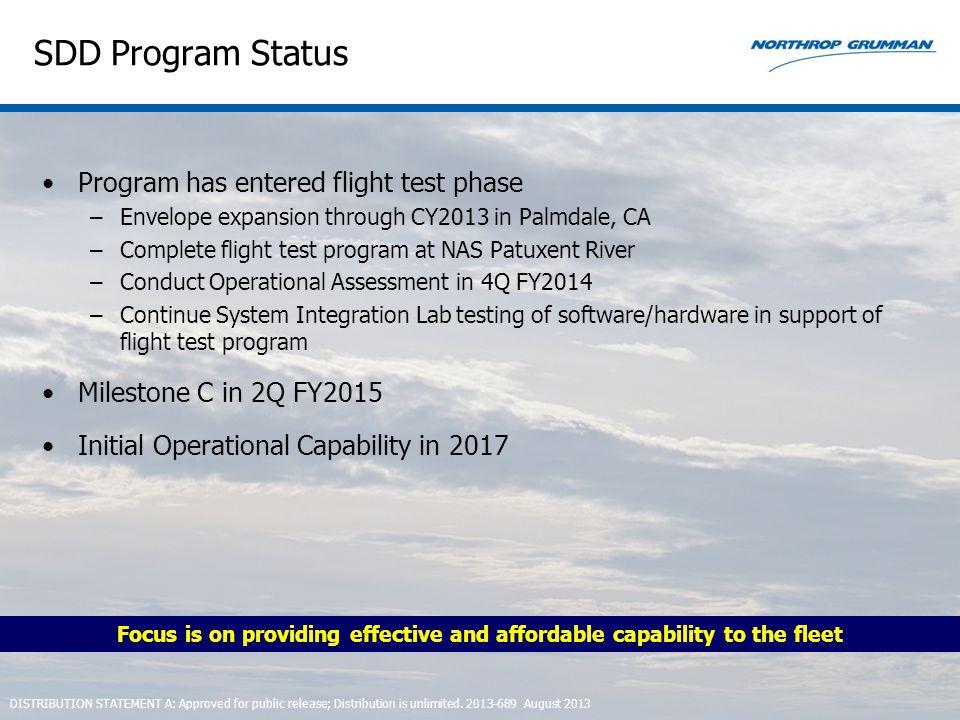 SDD Program Status Program has entered flight test phase –Envelope expansion through CY2013 in Palmdale, CA –Complete flight test program at NAS Patux
