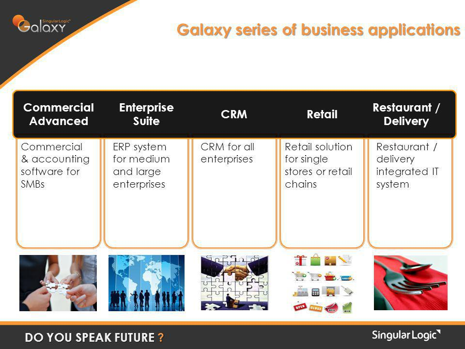 Galaxy series of business applications Commercial & accounting software for SMBs ERP system for medium and large enterprises CRM for all enterprises Retail solution for single stores or retail chains Restaurant / delivery integrated IT system Commercial Advanced Enterprise Suite CRMRetail Restaurant / Delivery DO YOU SPEAK FUTURE