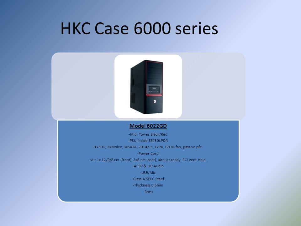 HKC Case 6000 series Model 6022GD -Midi Tower Black/Red -PSU inside SZ450LPDR -1xFDD, 2xMolex, 3xSATA, 20+4pin, 1xP4, 12CM fan, passive pfc- -Power Co