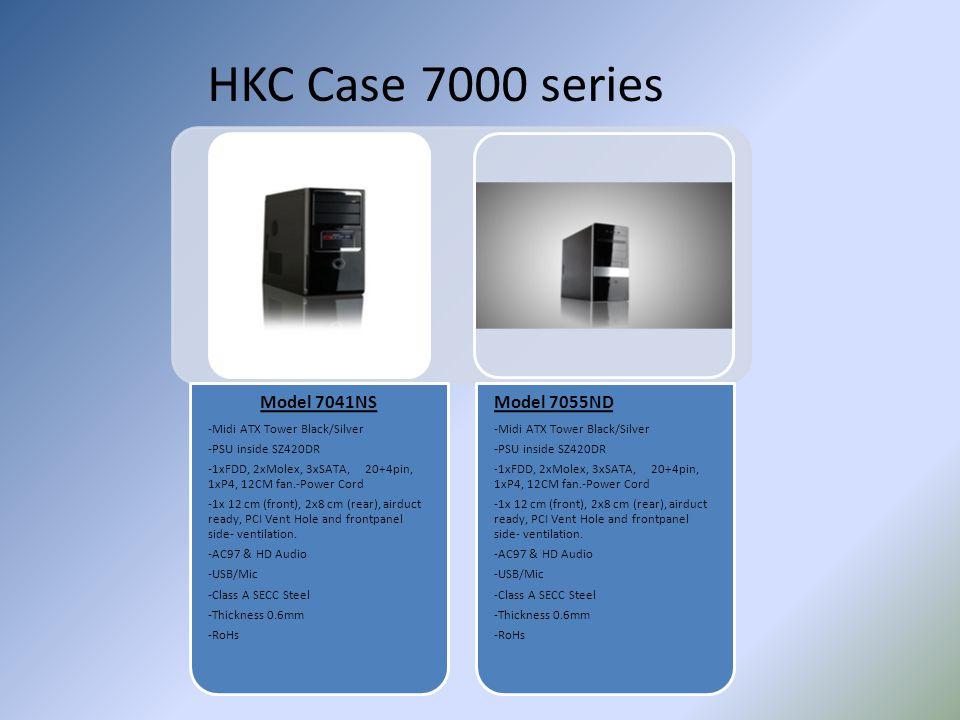 HKC Case 7000 series Model 7041NS -Midi ATX Tower Black/Silver -PSU inside SZ420DR -1xFDD, 2xMolex, 3xSATA, 20+4pin, 1xP4, 12CM fan.-Power Cord -1x 12