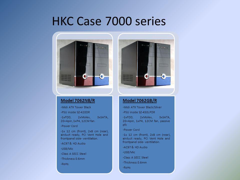 HKC Case 7000 series Model 7062NB/R -Midi ATX Tower Black -PSU inside SZ-420DR -1xFDD, 2xMolex, 3xSATA, 20+4pin, 1xP4, 12CM fan. -Power Cord -1x 12 cm