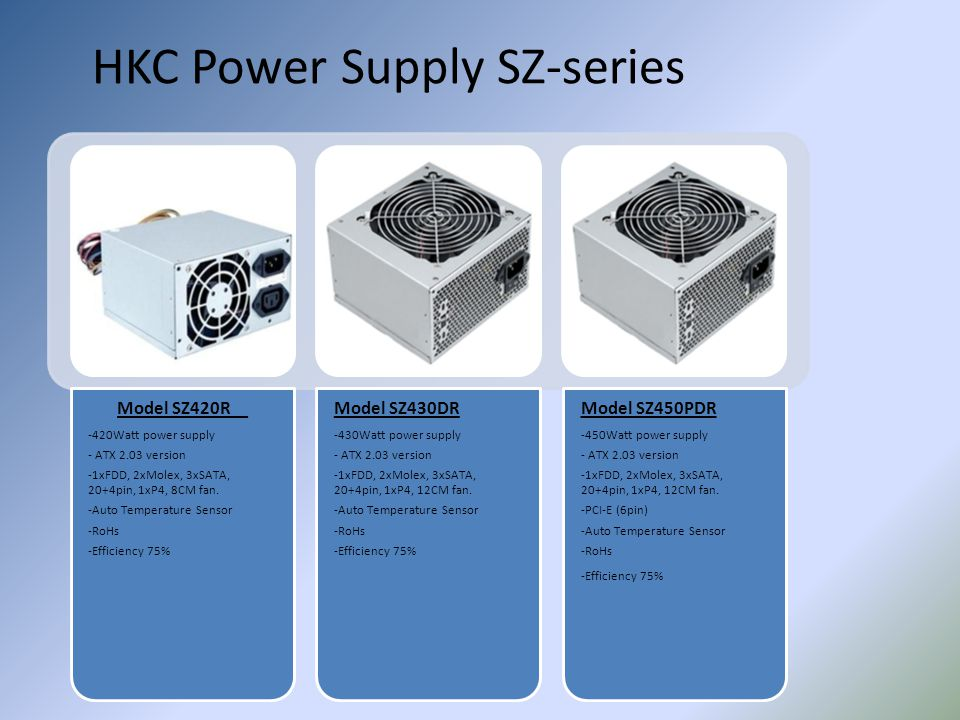 HKC Power Supply SZ-series Model SZ420R -420Watt power supply - ATX 2.03 version -1xFDD, 2xMolex, 3xSATA, 20+4pin, 1xP4, 8CM fan. -Auto Temperature Se