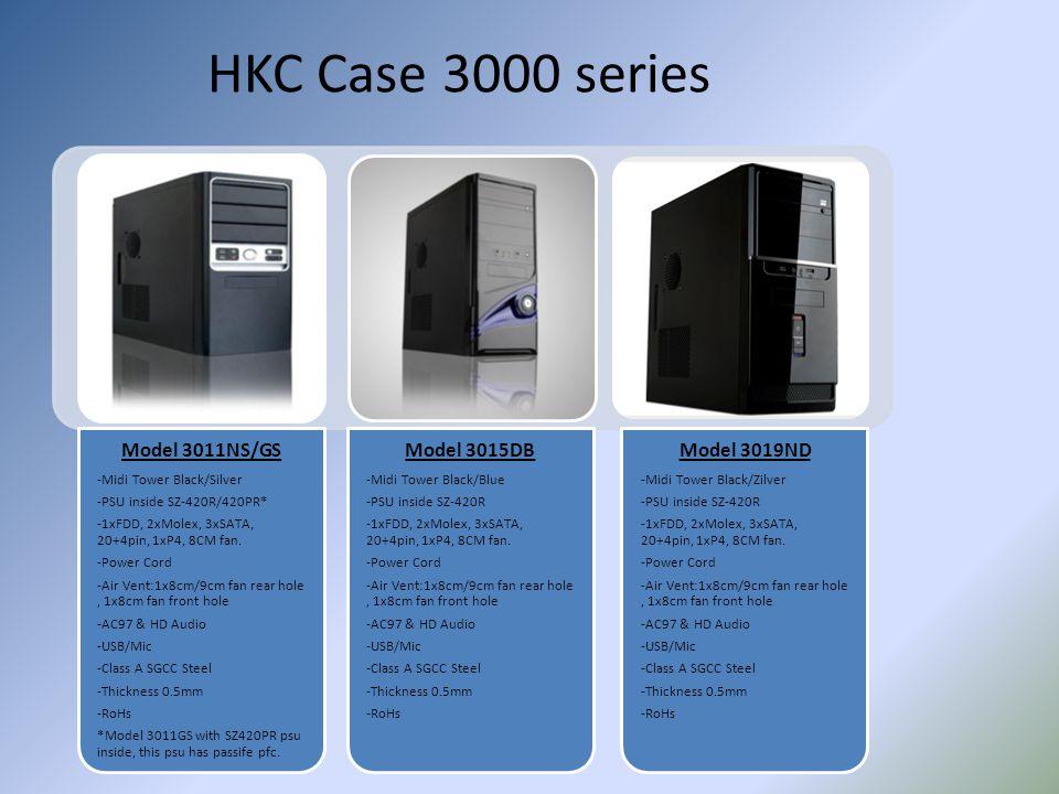 HKC Case 3000 series Model 3011NS/GS -Midi Tower Black/Silver -PSU inside SZ-420R/420PR* -1xFDD, 2xMolex, 3xSATA, 20+4pin, 1xP4, 8CM fan. -Power Cord