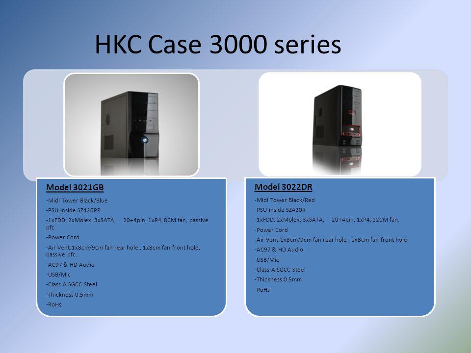 HKC Case 3000 series Model 3021GB -Midi Tower Black/Blue -PSU inside SZ420PR -1xFDD, 2xMolex, 3xSATA, 20+4pin, 1xP4, 8CM fan, passive pfc. -Power Cord