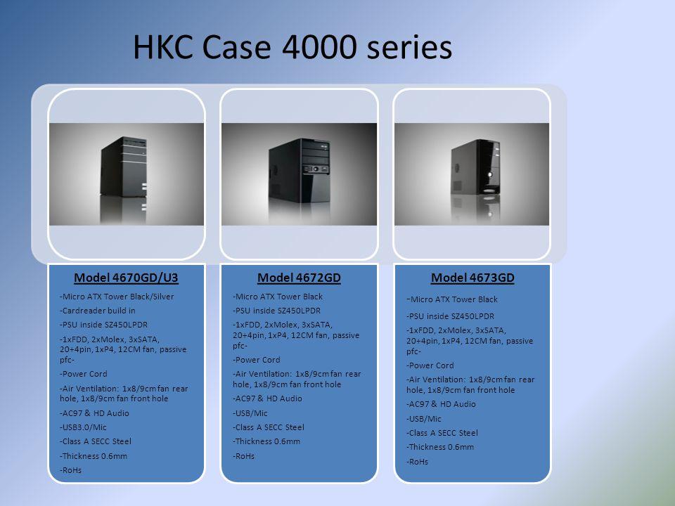 HKC Case 4000 series Model 4670GD/U3 -Micro ATX Tower Black/Silver -Cardreader build in -PSU inside SZ450LPDR -1xFDD, 2xMolex, 3xSATA, 20+4pin, 1xP4,