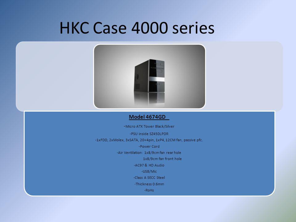 HKC Case 4000 series Model 4674GD - Micro ATX Tower Black/Silver -PSU inside SZ450LPDR -1xFDD, 2xMolex, 3xSATA, 20+4pin, 1xP4, 12CM fan, passive pfc.
