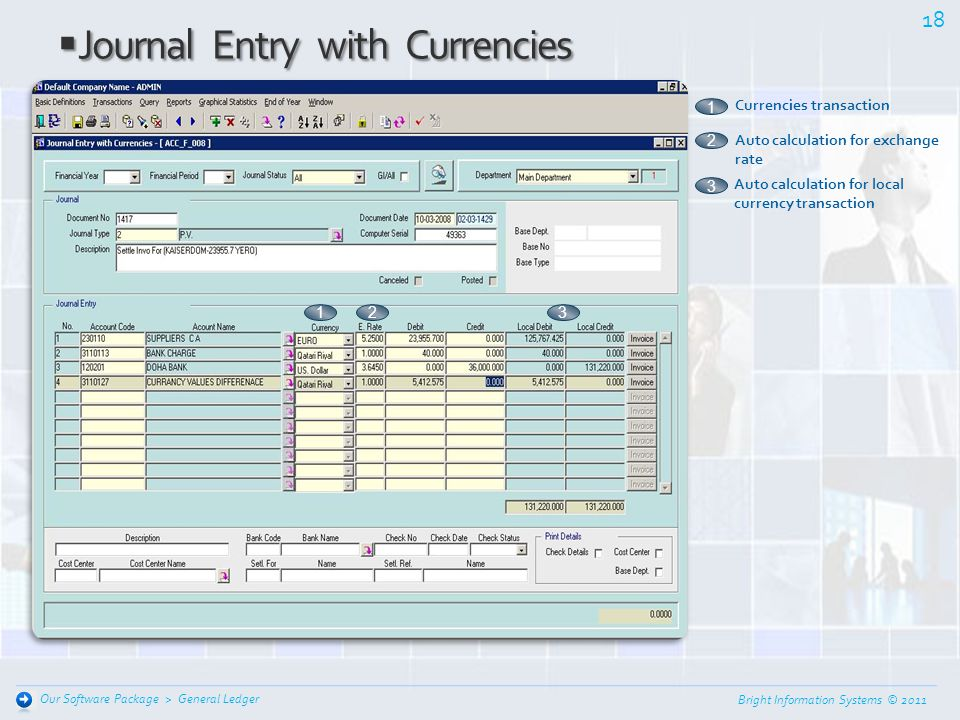 Bright Information Systems © 2011 17 General Ledger Our Software Package > Journal Entry Local Currency Journal Entry Local Currency Classification fo