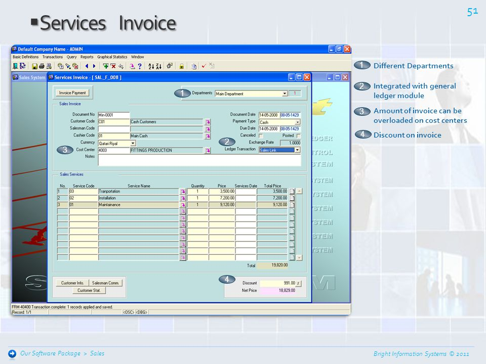 Bright Information Systems © 2011 50 Sales Our Software Package > Sales Invoice Sales Invoice 1 Different Departments 2 Direct sales invoice or sales