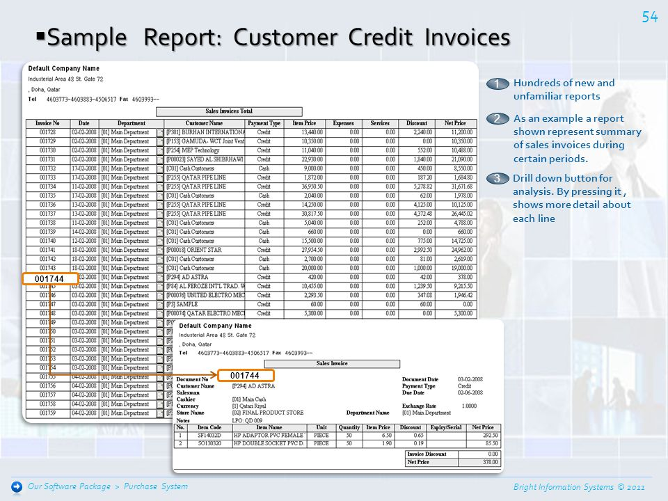 Bright Information Systems © 2011 53 Purchase System Our Software Package > Sample Report: Customer Credit Aging Sample Report: Customer Credit Aging