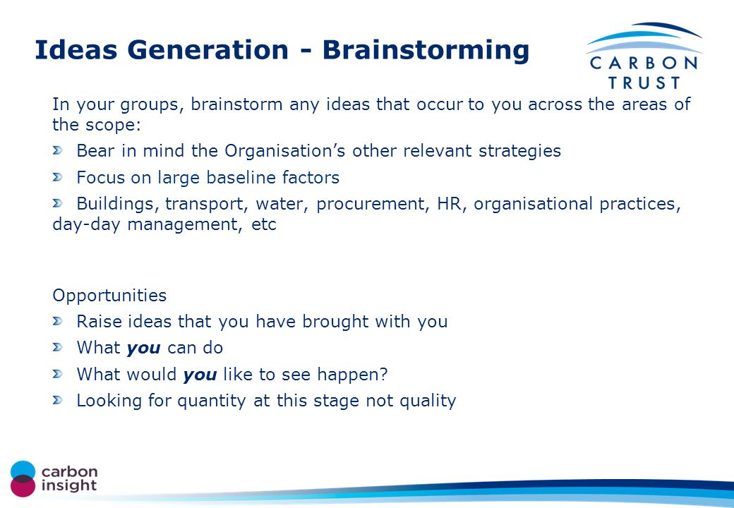 Ideas Generation - Brainstorming In your groups, brainstorm any ideas that occur to you across the areas of the scope: Bear in mind the Organisations other relevant strategies Focus on large baseline factors Buildings, transport, water, procurement, HR, organisational practices, day-day management, etc Opportunities Raise ideas that you have brought with you What you can do What would you like to see happen.