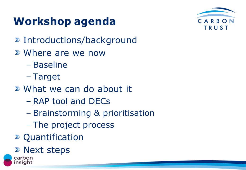 Workshop agenda Introductions/background Where are we now –Baseline –Target What we can do about it –RAP tool and DECs –Brainstorming & prioritisation –The project process Quantification Next steps