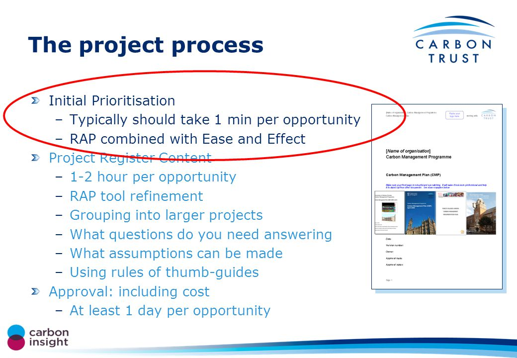 The project process Initial Prioritisation –Typically should take 1 min per opportunity –RAP combined with Ease and Effect Project Register Content –1-2 hour per opportunity –RAP tool refinement –Grouping into larger projects –What questions do you need answering –What assumptions can be made –Using rules of thumb-guides Approval: including cost –At least 1 day per opportunity