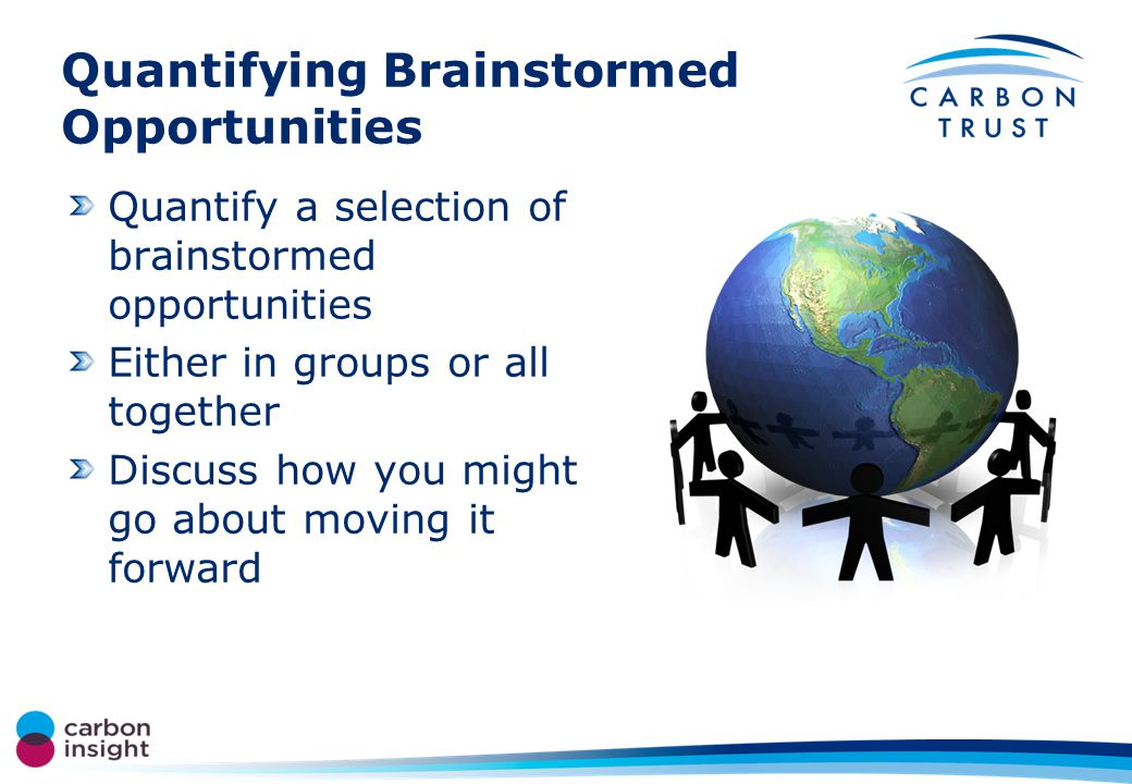 Quantifying Brainstormed Opportunities Quantify a selection of brainstormed opportunities Either in groups or all together Discuss how you might go about moving it forward