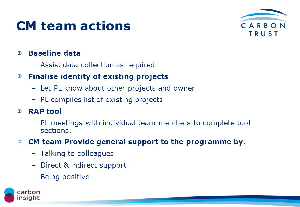 CM team actions Baseline data –Assist data collection as required Finalise identity of existing projects –Let PL know about other projects and owner –PL compiles list of existing projects RAP tool –PL meetings with individual team members to complete tool sections, CM team Provide general support to the programme by: –Talking to colleagues –Direct & indirect support –Being positive