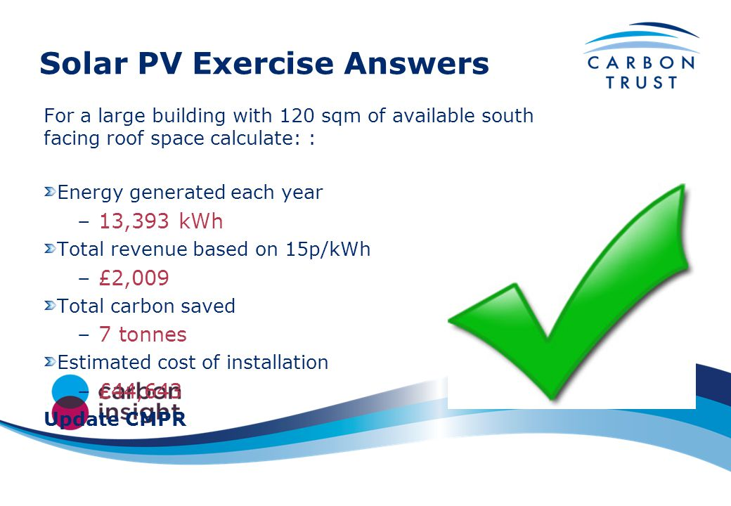 Solar PV Exercise Answers For a large building with 120 sqm of available south facing roof space calculate: : Energy generated each year –13,393 kWh Total revenue based on 15p/kWh –£2,009 Total carbon saved –7 tonnes Estimated cost of installation –£44,643 Update CMPR