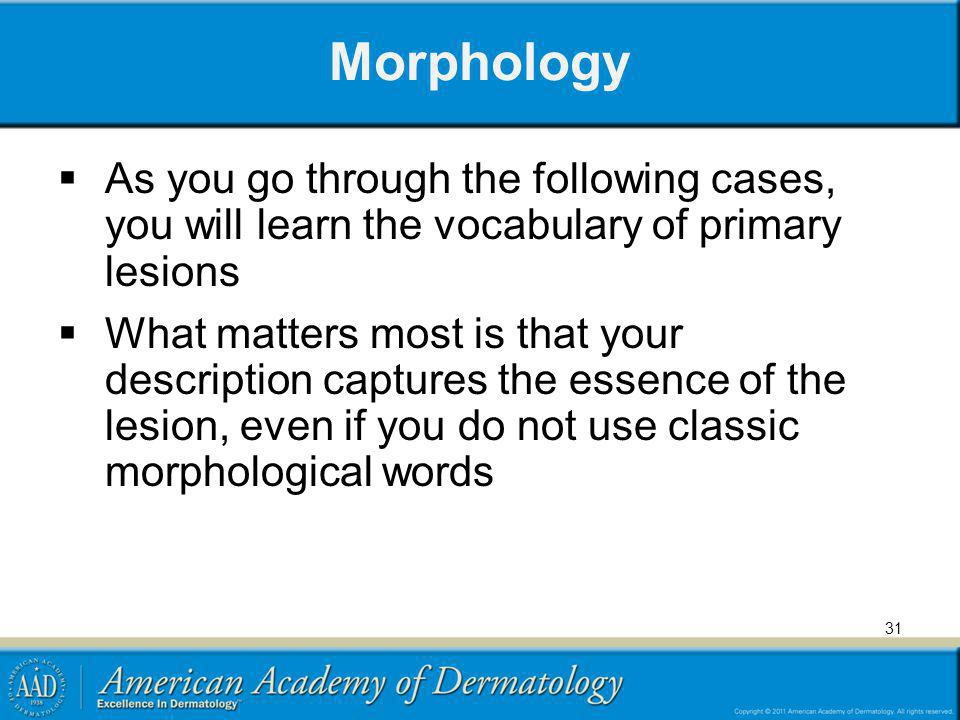 Morphology As you go through the following cases, you will learn the vocabulary of primary lesions What matters most is that your description captures