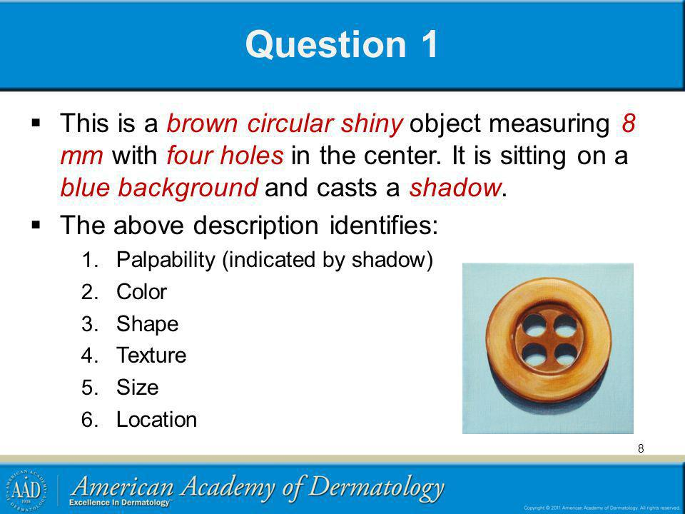Question 1 This is a brown circular shiny object measuring 8 mm with four holes in the center. It is sitting on a blue background and casts a shadow.