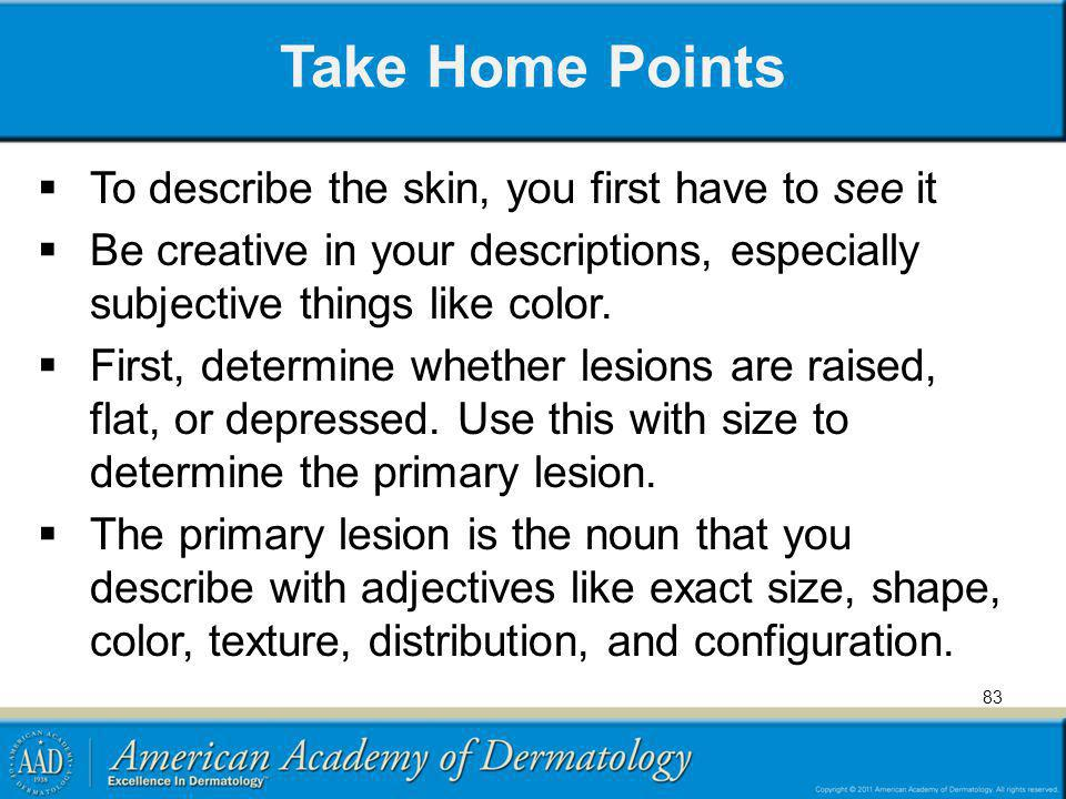 Take Home Points To describe the skin, you first have to see it Be creative in your descriptions, especially subjective things like color. First, dete