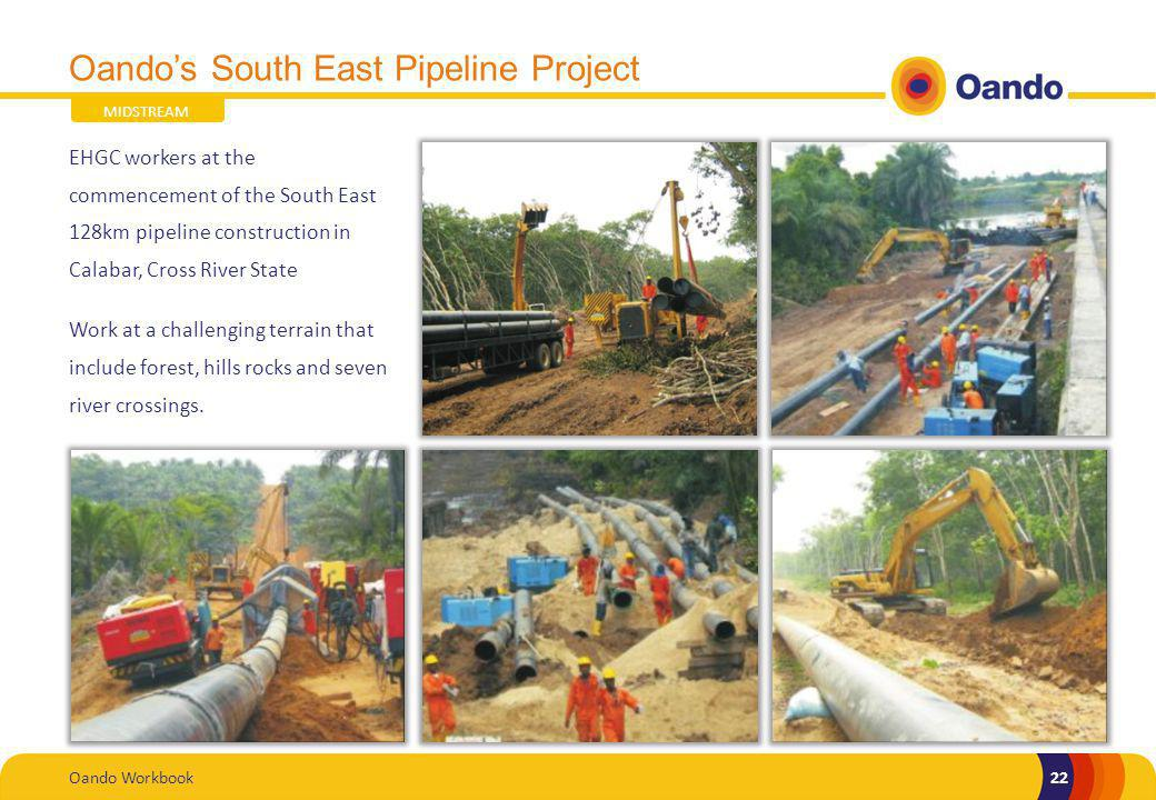 Oando Workbook22 Oandos South East Pipeline Project EHGC workers at the commencement of the South East 128km pipeline construction in Calabar, Cross River State Work at a challenging terrain that include forest, hills rocks and seven river crossings.